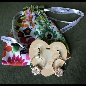 NEW Brighton silver w/ rose gold flower earrings